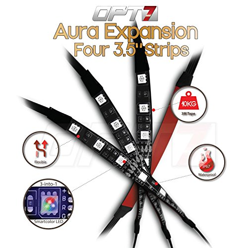 4pc - OPT7 Aura LED Expansion Pack - 3.5 Inline Strips with Splitters and Extensions by OPT7