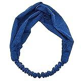 Damen Stirnband Einfarbig Farbe Haar Band Boho Twist Knoten Elastisch Wickeln Turban Yoga Sport GreatestPAK,Blau