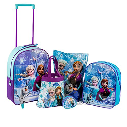 Disney frozen anna, elsa, olaf & 5 children's school & set di trolley da viaggio
