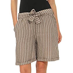 Malito Mujer Pantalones de Lino Pantalones Cortos Bermuda Rayas 6820 (Fango, L)