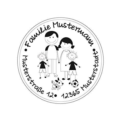 Familienstempel   Personalisierter Adressstempel mit Familienname und Adresse   Eltern mit 2 Jungen und Hund (Hund-gehäuse)
