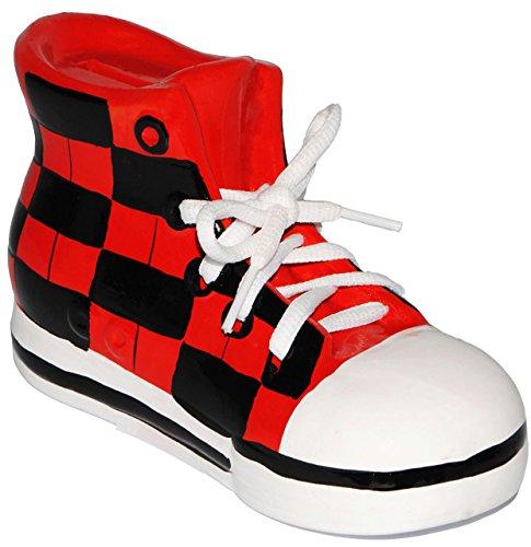 alles-meine.de GmbH 2 Stück _ Sparschweine -  Schuhe Sneaker / Sportschuh  - mit echten Schnürsenkel ! - stabile Sparbüchse aus Porzellan / Keramik - 3-D Effekt - für Kinder & .. - 5