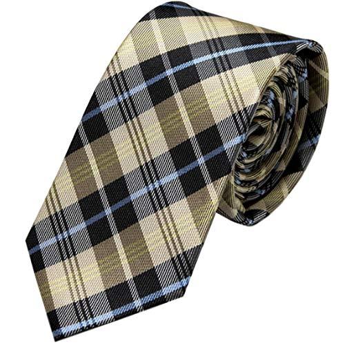 GASSANI Schmale dünne 6cm Krawatte kariert | Karo Herrenkrawatte zum Sakko Anzug | Schlips Binder mit Beige Schwarze Hellblaue Karos