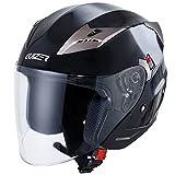 Cruizer Casco Moto Jet Omologato ECE, Doppia Visiera, Nero Lucido, Taglia L