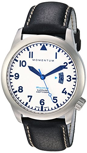 Momentum Men's Quartz Stainless Steel and Leather Casual Watch, Color:Black (Model: 1M-SP18LS3B)