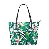 XGBags Custom Damen Pu Leder Umhängetasche Handtasche Palm Tree Leaves With Flowers Womens Purse PU...