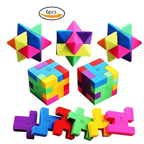 Spielzeug Puzzle Radierer Colorful Bleistift Radierer Würfel und Rauten für Schule Party Spiele 6pcs (Alle Iwako Radiergummis)
