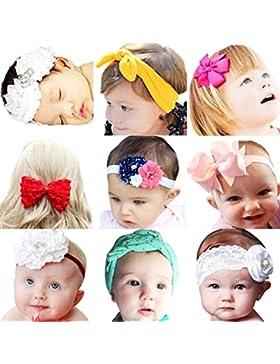 Emitha 9 piezas Recién nacido y bebés del pelo de la venda Bebé flor pelo diadema
