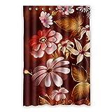 120cm x 183cm (121,9x 182,9cm) Badezimmer Dusche Vorhang, schön weiß Blume Muster HD Wasserdicht Mehltau Duschvorhang blickdicht