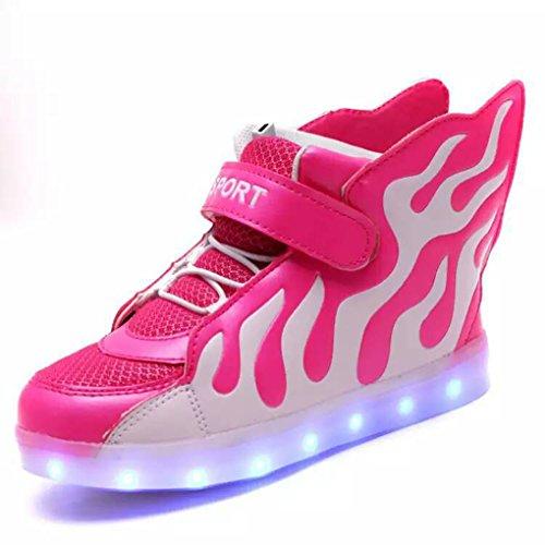 Kids Hi-Top Sport Schuhe Flame Mustern LED Beleuchtung Schuhe USB Ladekabel Sneakers Rot