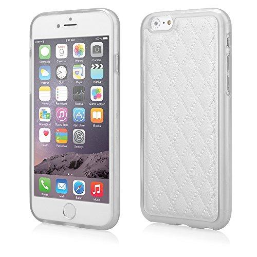 Stylische TPU Silikon Handy Back Case Schutz Hülle weiß mit trendiger Kunstleder Rückseite für