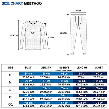 MeetHoo Men's Thermal Underwear Set, Compression Base Layer Sports Long Johns Fleece Lined Winter Gear Running Skiing 7