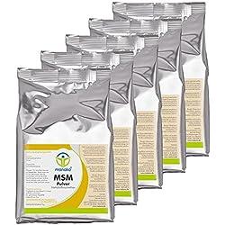 manako MSM (Methylsulfonylmethan) kristallines Pulver, Premiumqualität, 99,9% rein, 5 x 1 kg