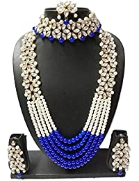 Catalyst Traditional Kundan Necklace Set With Blue And Off White Pearl & Gold Plated Necklace With Earrings Mang...