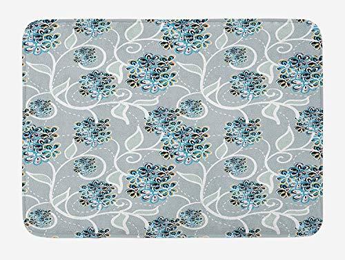 WYICPLO Floral Bath Mat, Swirls Daisy Flower Bouquets Beauty Exquisite Flourishing Nature Essence, Plush Bathroom Decor Mat with Non Slip Backing, 23.6 W X 15.7 W Inches, Sky Blue Grey Apricot Fiesta Apricot