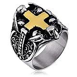 KnSam Schmuck Herren Ring Edelstahl Fingerring Bandring Kreuz Verlobungsringe Geschenk für Männer Junge Gold Größe 54 (17.2)