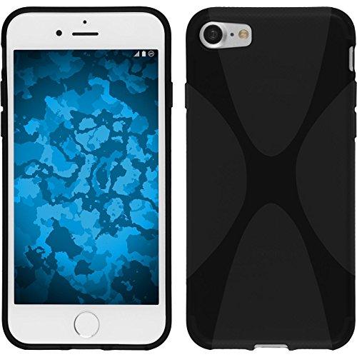 PhoneNatic Case für Apple iPhone 8 Hülle Silikon schwarz X-Style Cover iPhone 8 Tasche + 2 Schutzfolien Schwarz