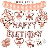 Geburtstagsdeko Rose Gold für Mädchen inkl. aufblasbar helium Folienballons happy birthday Banner &36pcs rosegold Ballons & 15pcs Konfetti Latex Luftballon & 4Pcs Stern Herz Folie Ballon mit Ballonbänder、Ballonklebepunkt für 1. 3. 5. 10.16. 18. 30. 40. Tochter Freundin mädchen Geburtstag Party Supplies