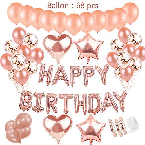(Geburtstagsdeko Rose Gold für Mädchen inkl. aufblasbar helium Folienballons happy birthday Banner &36pcs rosegold Ballons & 15pcs Konfetti Latex Luftballon & 4Pcs Stern Herz Folie Ballon mit Ballonbänder、Ballonklebepunkt für 1. 3. 5. 10.16. 18. 30. 40. Tochter Freundin mädchen Geburtstag Party Supplies)