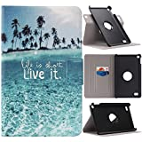 Kindle Fire 7 2015 Hülle, Asnlove PU Ständer Hülle Schutzhülle Tasche Ledertasche Schale Case Cover mit 360 Grad Rotierend Standfunktion für Amazon Kindle Fire 7.0 Zoll 2015 Modell Tablet, Strand