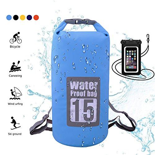 Wasserdichte Tasche, Dry Bag Wasserdichter Packsack Trockensack, Wasserdichte Beutel mit Wasserdichter Handybeutel und lang Verstellbarer Schultergurt, 5L/10L/15L/20L, Für Ruder- und Paddeltouren / Boot und Kajak/ Rafting Angeln / Camping und Snowboarden/ ideal zum Speichern von Mobiltelefonen/ Schuhe Super Wasserdicht (Hellblau, 15L) (Kajak-angeln Zubehör)
