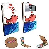 Handy Hülle für - Phicomm Clue 2s- Flip Tasche mit Kreditkartenfach - Flip Nano M Katze liebe