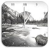 Yosemite National Park California Kunst Kohle Effekt, Wanduhr Durchmesser 28cm mit weißen spitzen Zeigern und Ziffernblatt, Dekoartikel, Designuhr, Aluverbund sehr schön für Wohnzimmer, Kinderzimmer, Arbeitszimmer