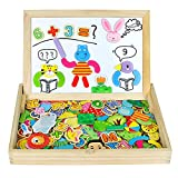 Magnetisches Holzpuzzles Magnettafel Kinder Doppelseitige Holzspielzeug Pädagogisches Spielzeug Lernspiel Geschenk für Baby Kleinkinder 3 4 5 6 Jahren Jungen Mädchen(180 Stück)