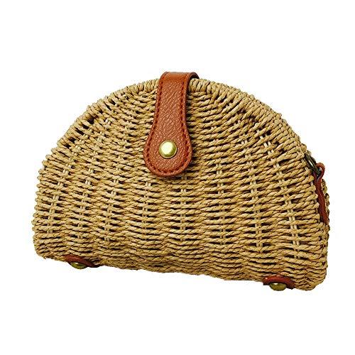 DLDL Rattan-Tasche, Retro Shell Form Sommer Strand Umhängetasche Woven Natural Chic Polyester Baumwolle innerhalb PU Sea Handtasche Tote -