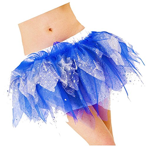 FRILLY LILY Silver and Blue Luxury Tutu Skirt Adult Size 8-12 ELSA/Frozen/Hen ()