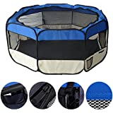 MC Star Pet Play Pen Dog Cat Puppy Fabric Soft Foldable Playpen Large(Diameter:155cm),Blue
