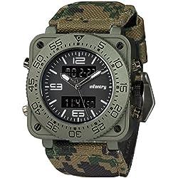 INFANTRY® Mens Analogue - Digital Chronograph Wrist Watch Night Light Army Green Camo Leather Strap