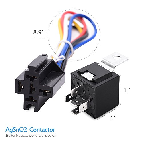 automotive relay wiring harness and socket 12volt 30a 40a mictuning relay harness 30 40a spdt relay 12v 5 prong harness socket