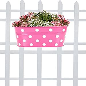 TrustBasket Dotted Oval Railing Planter - Magenta