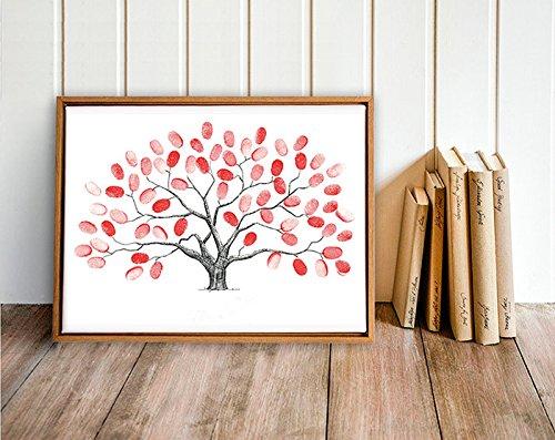 DIY Hochzeit Fingerabdruck Baum Leinwand Unterschrift Gästebuch Mit 6 Farben Tinte für Hochzeit Geburtstag Party(HK001)