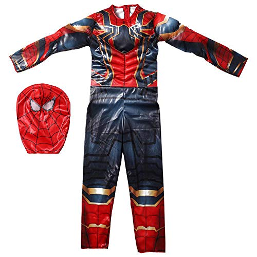 werty Cosplay Kleidung Kind The Amazing Spider-Man Anime Kostüm Siamese Muscle Performance Kostüm Steel Nano Battle Suit Strumpfhose Weihnachten Halloween Kostüm (Halloween Kostüme F)