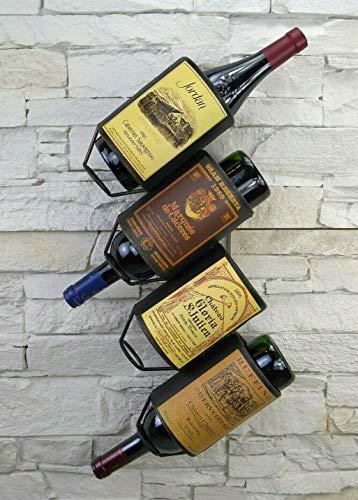 Livitat® Wandregal Wein Weinregal Flaschenregal Metall Used Look Vintage LV5010 (4 Flaschen)