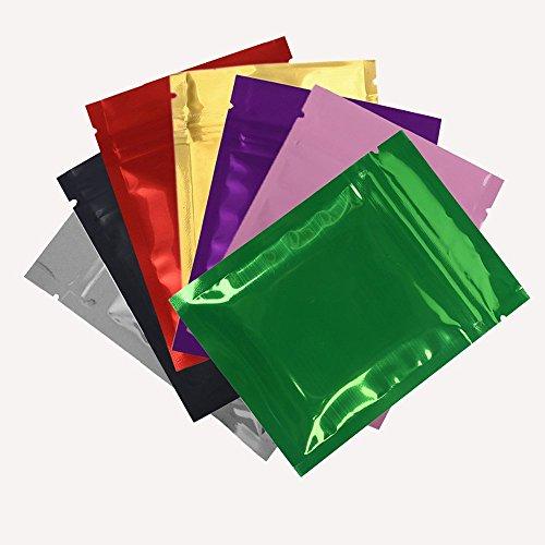 Generic S, silber: Hohe Qualität 7,5x 10cm (7,6x 10,2cm) 100/lot glänzend Farben heißsiegelfähig klein Zip Lock Beutel Lebensmittel Storage Paket Tasche mit Reißverschluss (Kleine Zip-lock-beutel)
