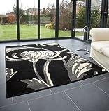 "Modern Large Rug in Black Grey 120 x 160 cm (4' x 5'3"") Carpet"