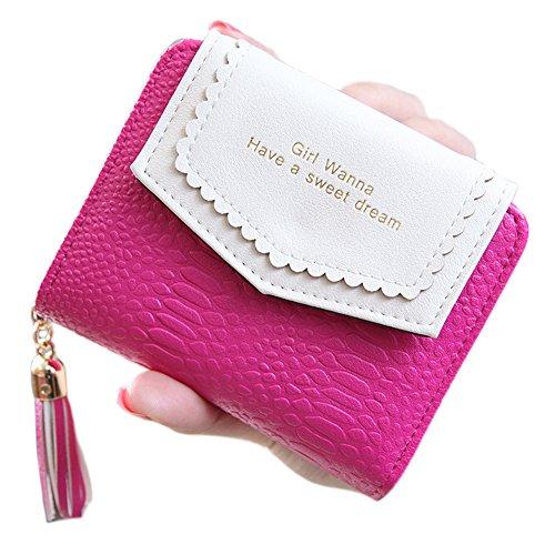 Mode Leder Geldbörse ACGE® Geldbeutel mit Knopf Damen Lange Portemonnaie (Hot pink) (Tommy Hilfiger Tasche Pink)