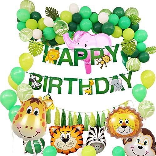Puselo Dschungel Geburtstag Dekorationen Happy Birthday Girlande lustig Tier Folienballons Latex Luftballons...