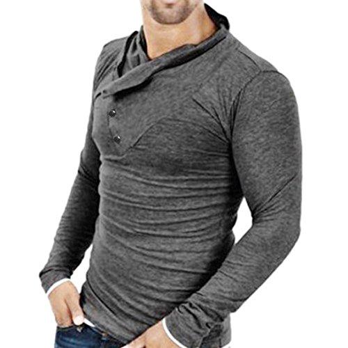 Koly_elegante modo sottile casuale fit uomo supera i vestiti (M, Grigio scuro)