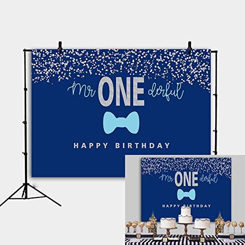 EdCott 7 x 5 ft blau und Silber blau Gentleman Kleiner Mann Baby Dusche Banner Kleiner Mann Prinz 1. Geburtstag Baby Dusche Fotografie Hintergrund Stand Tisch liefert Studio Requisiten