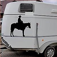 Cowboy auf Pferd, stehend Aufkleber Anhänger Pferd Anhänger ca. 80x60cm