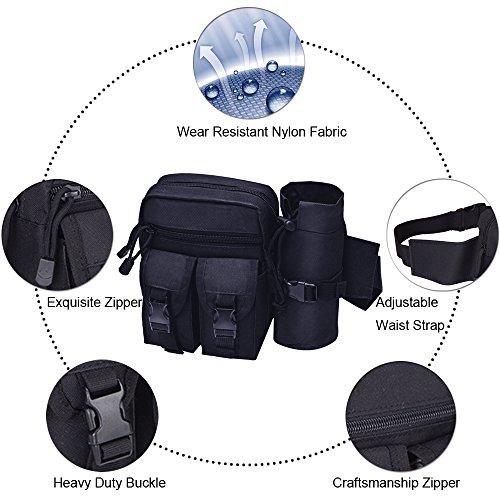 Tactical Waist Pack mit Wasser Flaschenhalter, wasserdicht multifunktional Aufbewahrung Military Outdoor Army Taille Fanny Pack für Radfahren Camping Wandern Jagd Angeln Schwarz