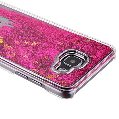 Samsung Galaxy J3 Custodia, Samsung Galaxy J3 PC Back Cover in Plastica Trasparente 3D Glitter Scintillanti Stelle Quick and Mode Liquido Rigido Bling Della Stella Caso Transparent Sottile Anti Scivol Rose rosse