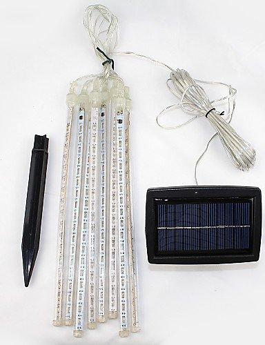 LPZSQ Set von 8 Sonnen Cosmos 8 Fallen Regen-Tropfen/Eiszapfen Snow Fall String LED-Schnur-Licht-Weihnachtsbaum Cascading Shooting-Star, kühle Weiß-Schwarz