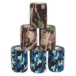 Andux Zone 6 Rollen Haftbandage Verband elastische Selbsthaftende cohesive Bandage Elastischer Fixierverband Camouflage Bandagen ZZTXBD-03 Farbe Random (7.5cm*4.5m)