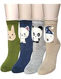 YSense 4 o 5 pares de calcetines de lana mujer invierno, efecto suave y cálido