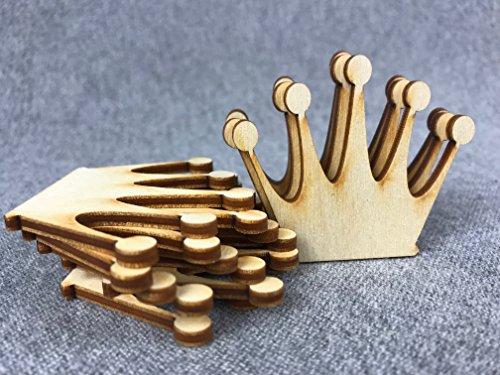 Holz-krone (10x Prinzessin Königin Krone blank Holzschnitt Holz Basteln Malen Deko HKL)